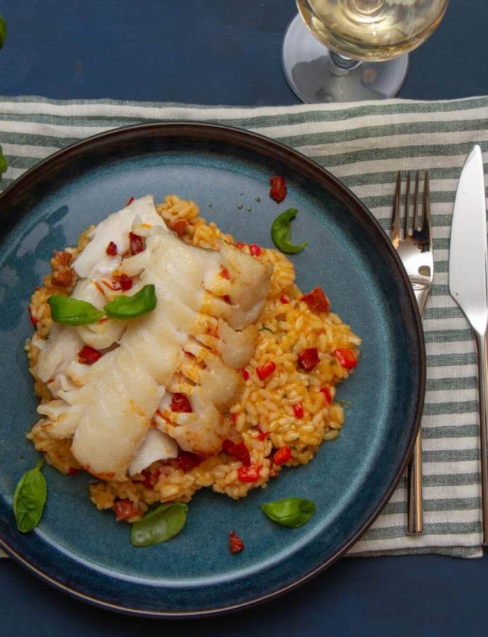 Stekt skrei med risotto