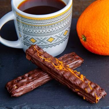 Vaffelkjeks med sjokolade og appelsin