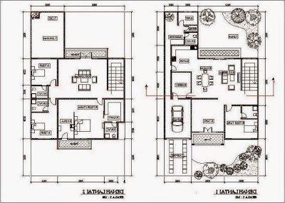Desain Denah Rumah Minimalis 2 Lantai Tipe 60