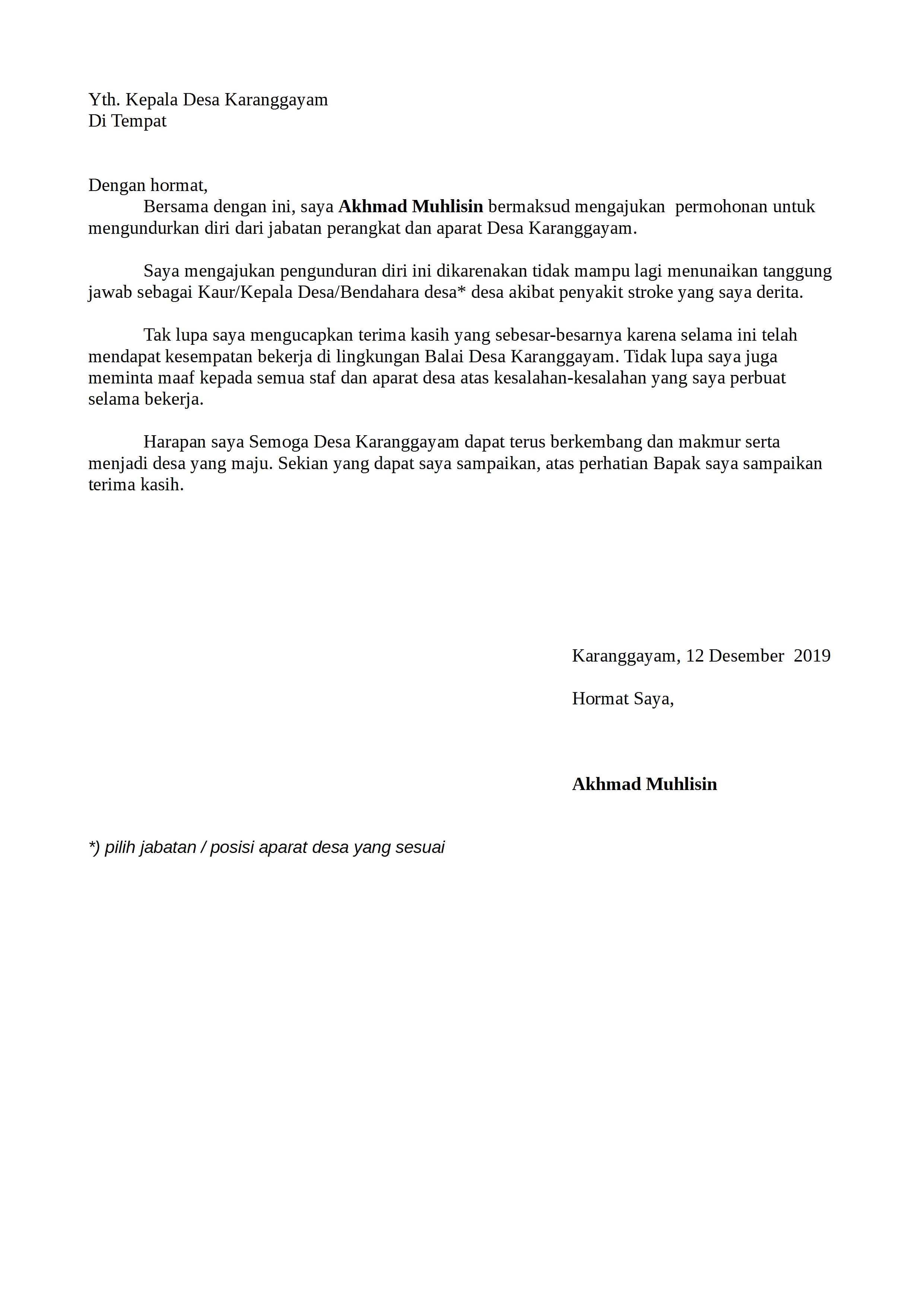 Contoh Surat Pengunduran Diri Anggota Bumdes