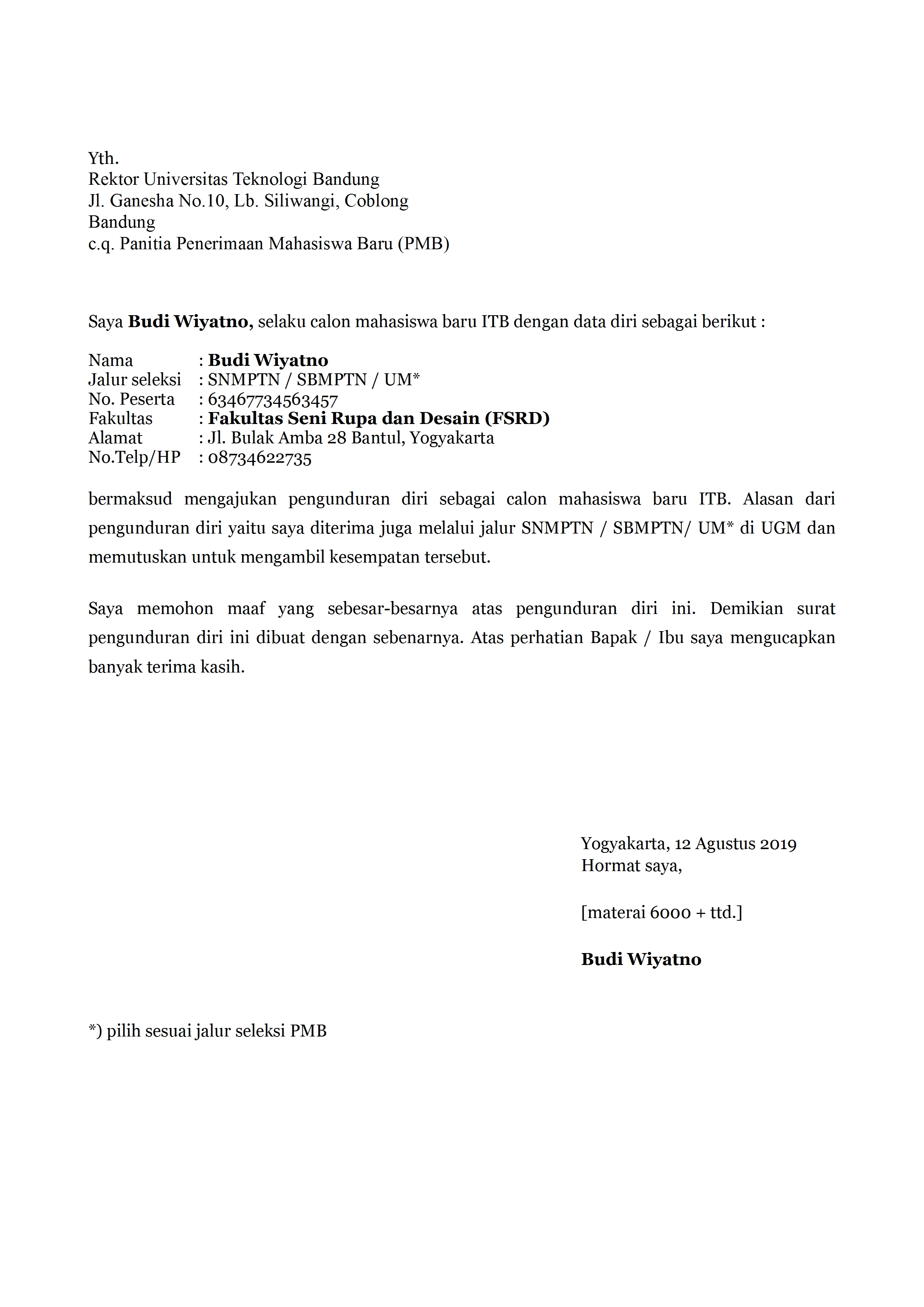 Contoh Surat Pengunduran Diri Mahasiswa Yang Baik Dan ...