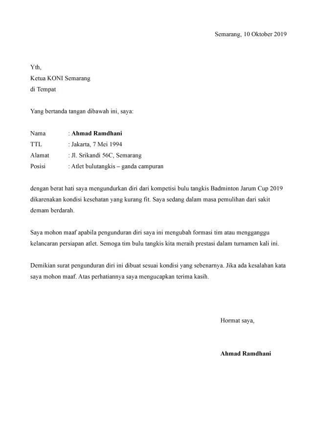 surat pengunduran diri atlet bulu tangkis
