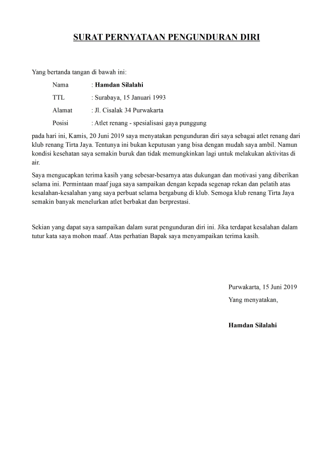 surat pengunduran diri atlet renang