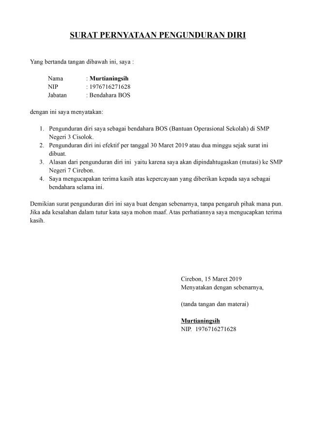 surat pengunduran diri bendahara bos