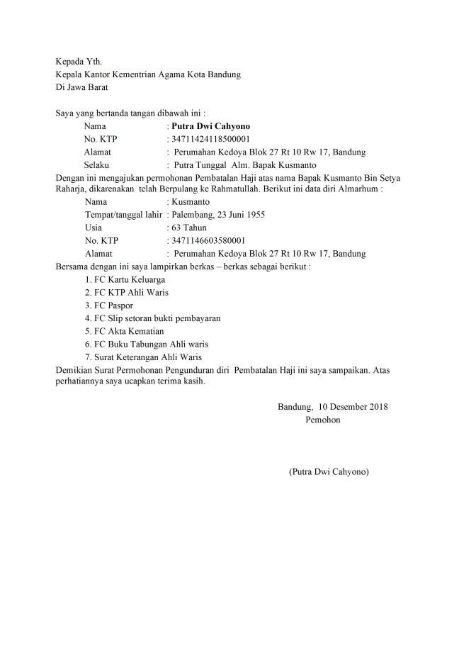 surat pengunduran diri pembatalan haji karena meninggal