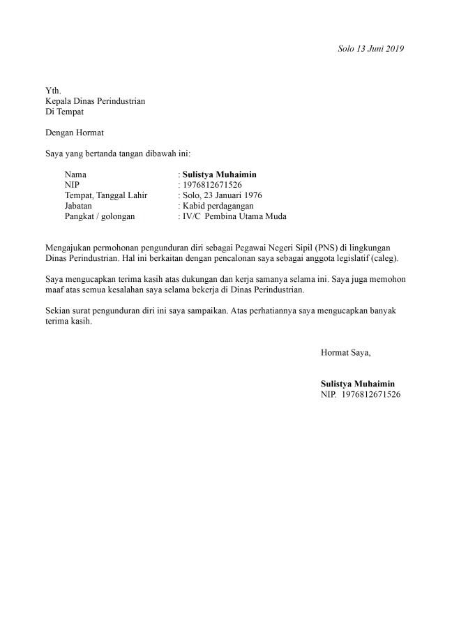 surat pengunduran diri pns dari jabatan