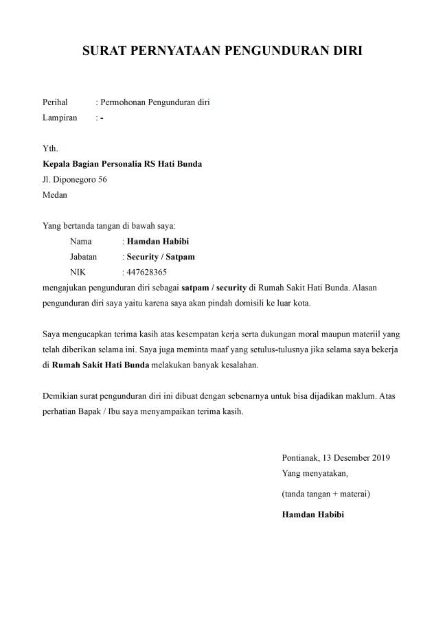 surat pengunduran diri satpam rumah sakit