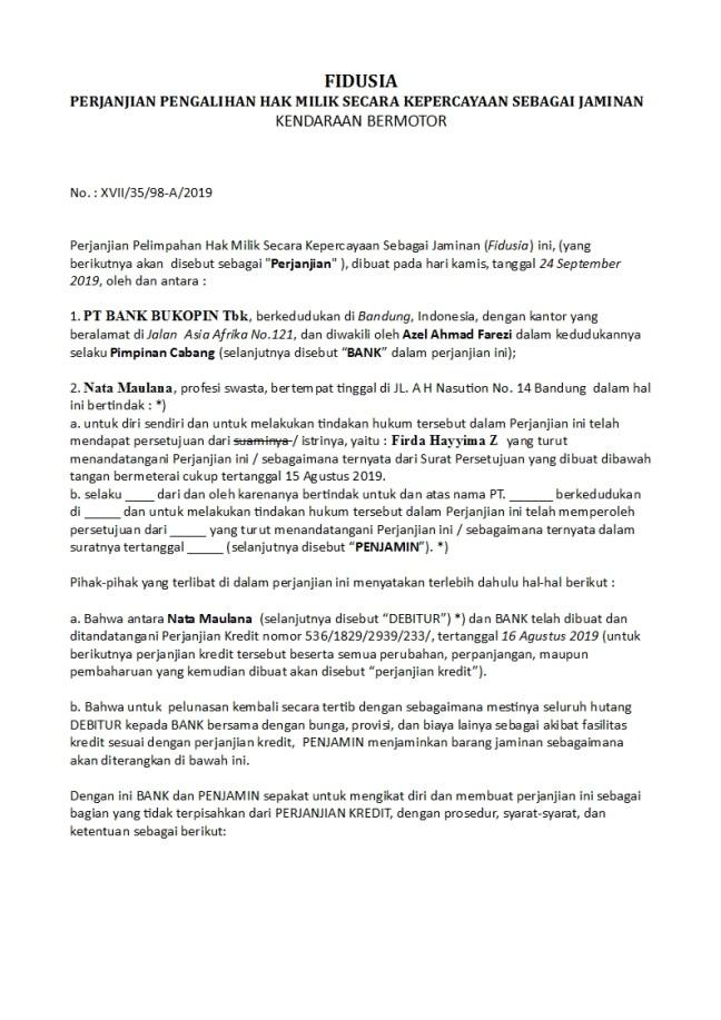 Surat Perjanjian Fidusia Kendaraan Bermotor Doc Word