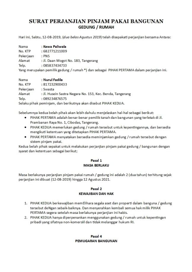 surat perjanjian pinjam pakai gedung atau rumah