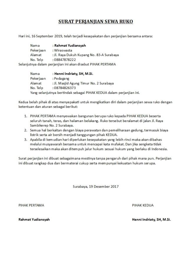surat perjanjian sewa ruko