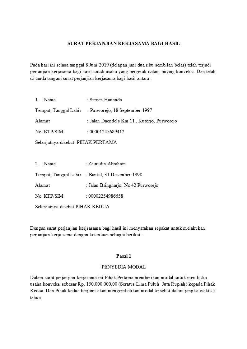 Contoh Surat Perjanjian Kerjasama Yang Benar Dan Sah Detiklife