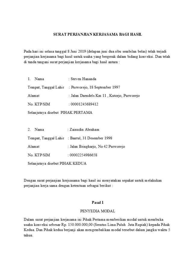 Surat perjanjian kerjasama bagi hasil