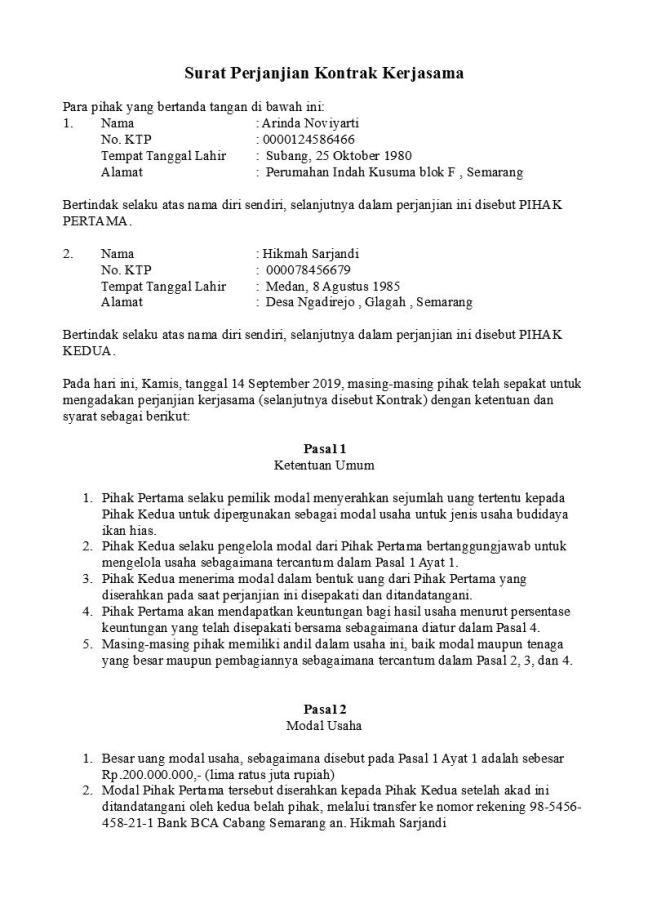 surat perjanjian kontrak kerjasama