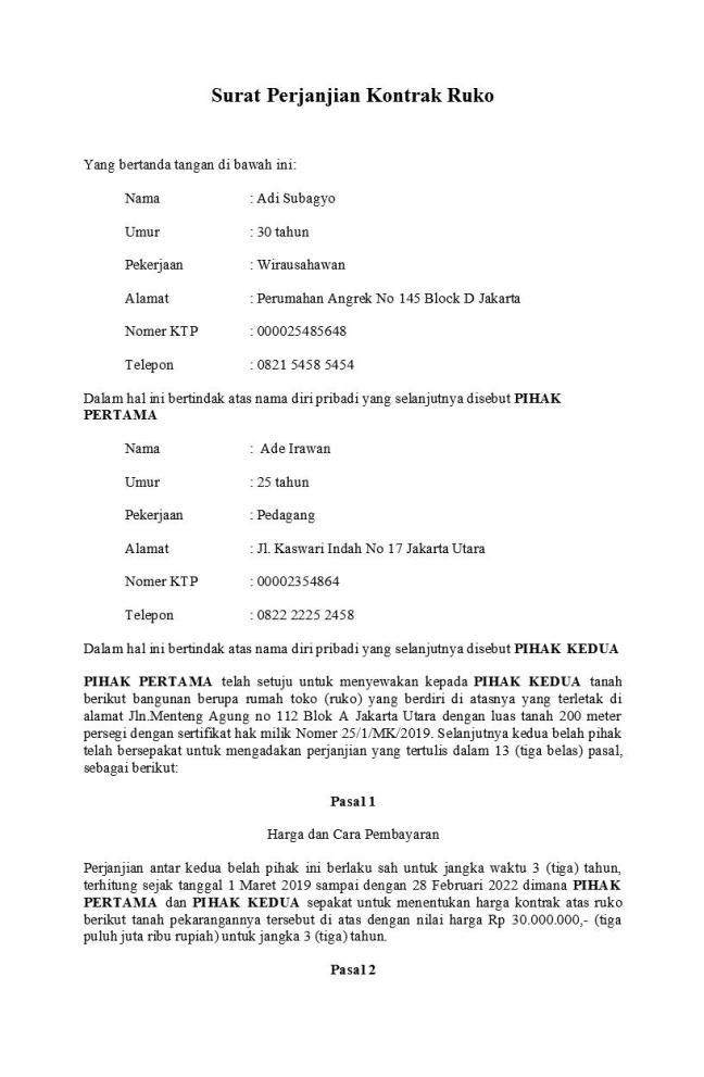 surat perjanjian kontrak ruko