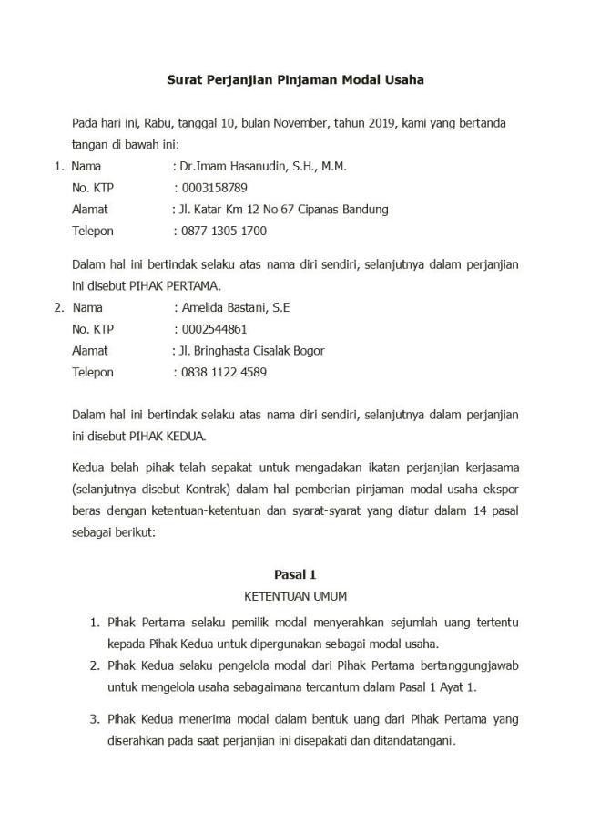surat perjanjian pinjaman modal