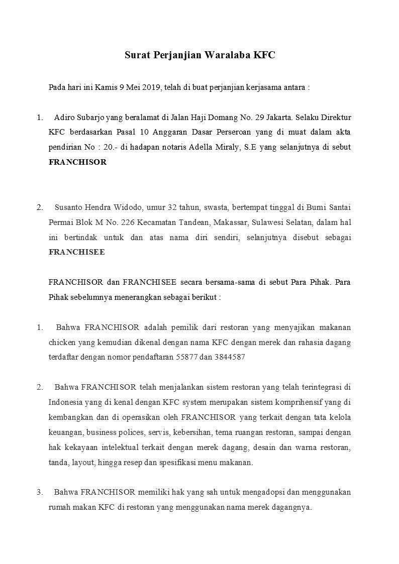 Contoh Surat Perjanjian Franchise Atau Waralaba Yang Baik