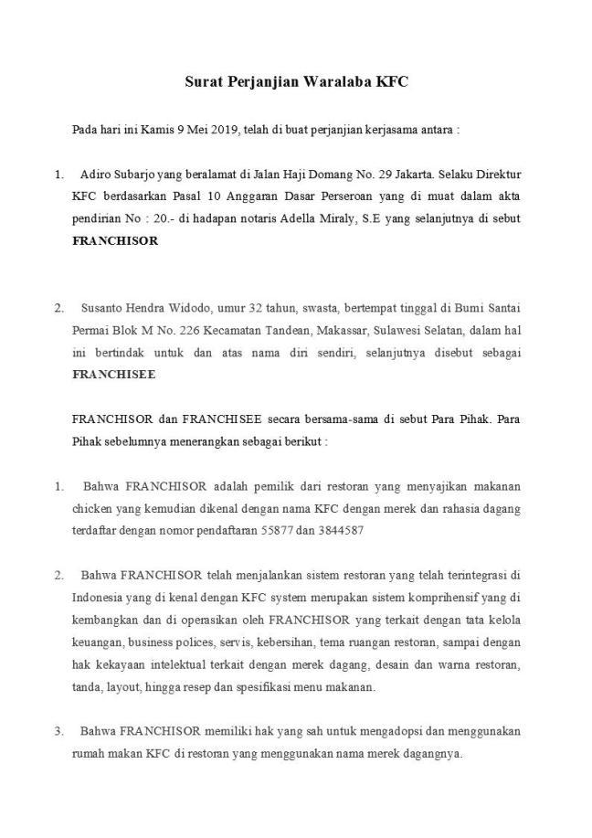 surat perjanjian waralaba kfc