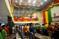 Suasana pengumandangan lagu INDONESIA RAYA mengawali dimulainya rangkaian rapat paripurna istimewa Milad ke-52 Kab Inhil tahun 2017