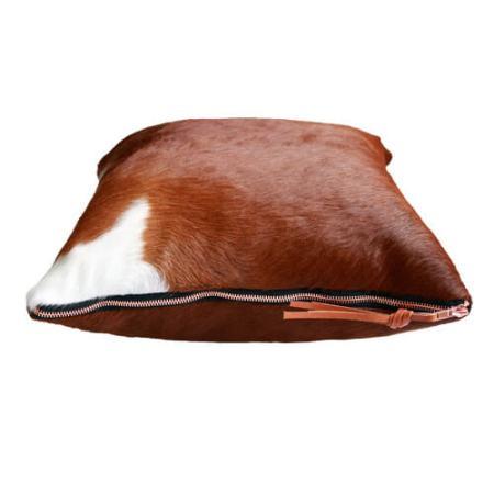Kopude brun og hvid med bronze lynlås - Det Lille Læderi