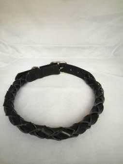 Hundehalsbånd rundflettet sort 2 Det lille Læderi
