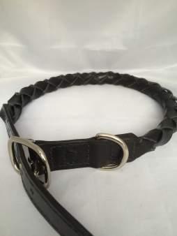 Hundehalsbånd rundflettet sort 5 Det lille Læderi