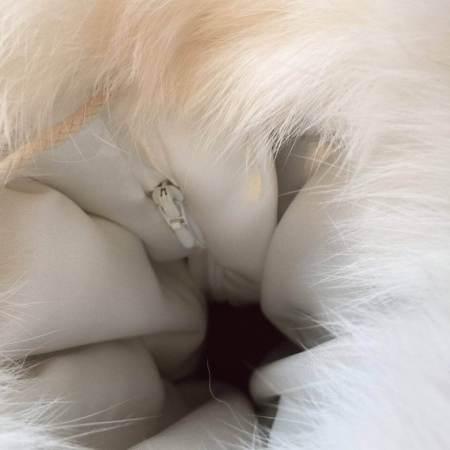Hvid kaninskidsmuffe lynlåslomme Det lille Læderi