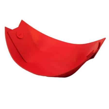 Rødt fad i kernelæder - bruges som frugtfad, brødkurv eller nøddefad