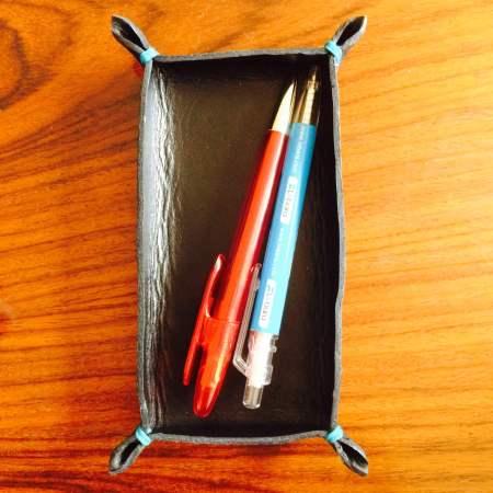 Rektangulær kernelæderbakke til skrivebordet fra Det Lille læderi