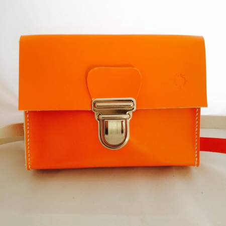 Sonja håndsyet orange kernelædertaske fra Det Lille Læderi 1
