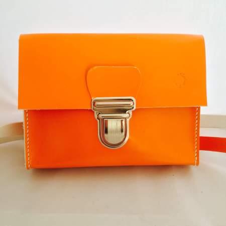 Sonja håndsyet orange kernelædertaske fra Det Lille Læderi 10