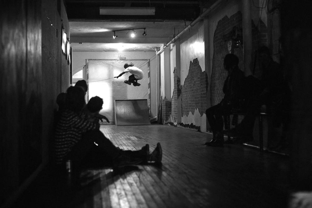 skating in downtown detroit art loft
