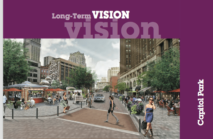 rendering of capitol park in downtown detroit planning book