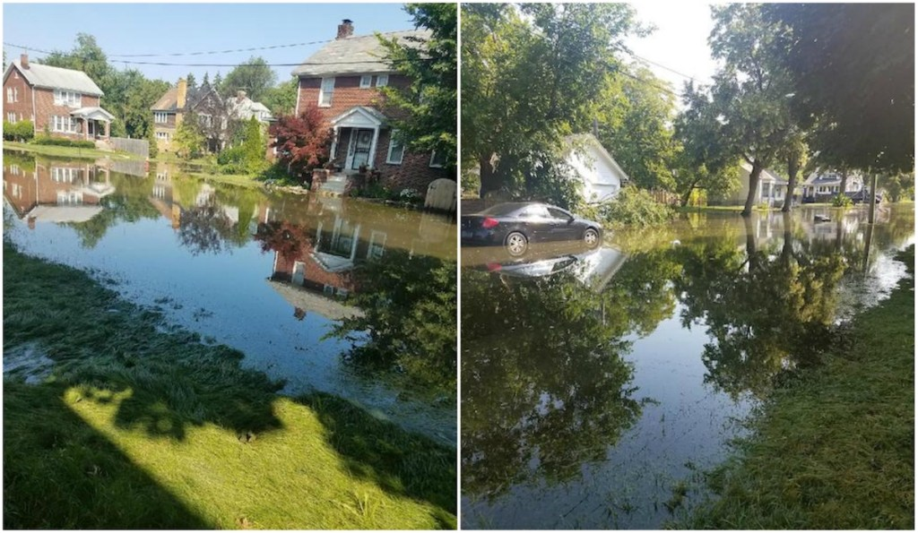 Flooding has persisted throughout July 2019 on Scripps Street, in the Jefferson Chalmers neighborhood of Detroit.