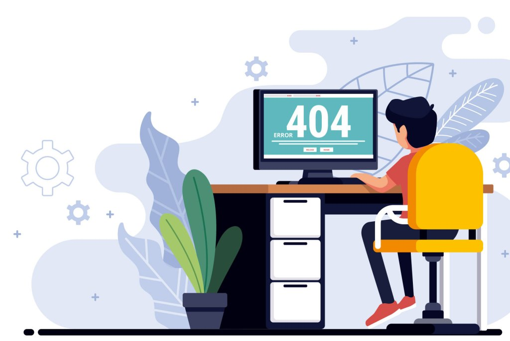 Illustration of boy using computer with 404 screen. One in four Detroiters doesn't have internet at home.