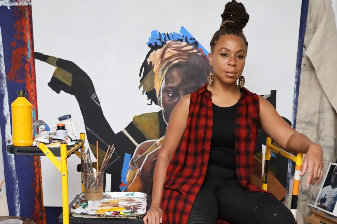 Detroit artist Sydney G. James in her studio.