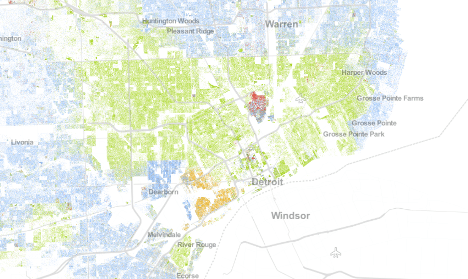 Dot map showing race of Metro Detroit residents as recorded by 2010 U.S. Census, created by demographer Dustin Cable.