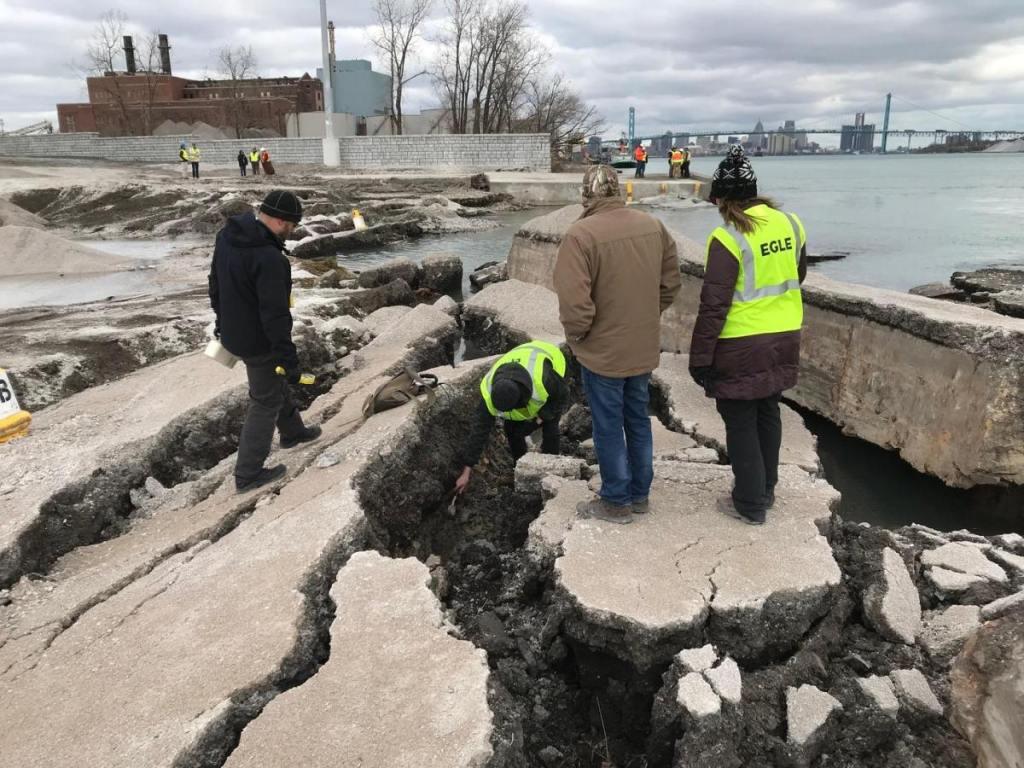 EGLE officials visit the collapsed shoreline at Detroit Bulk Storage on December 6. Photo courtesy EGLE.