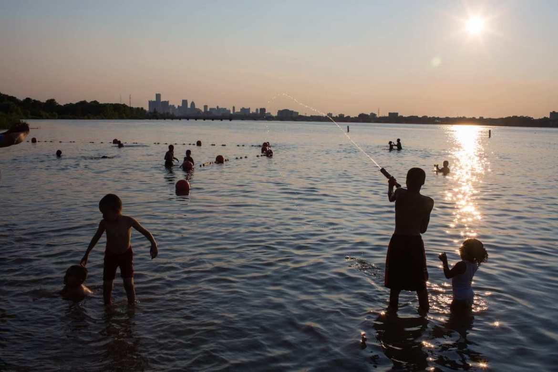 kids in water at belle isle