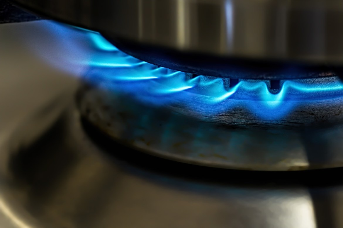 blue flame from kitchen stove top