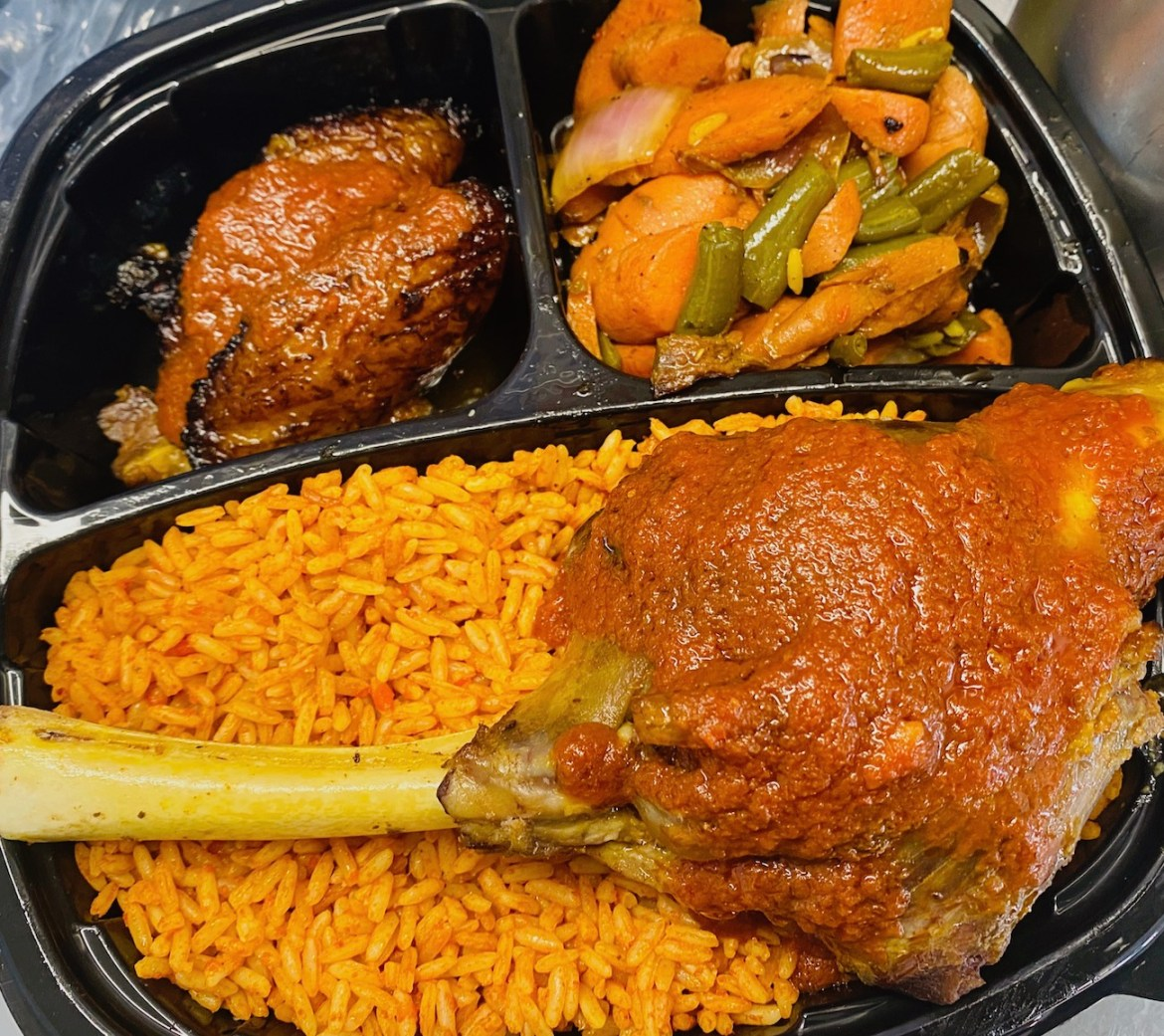 Jollof rice and stewed goat shank from Detroit food truck Fork in Nigeria