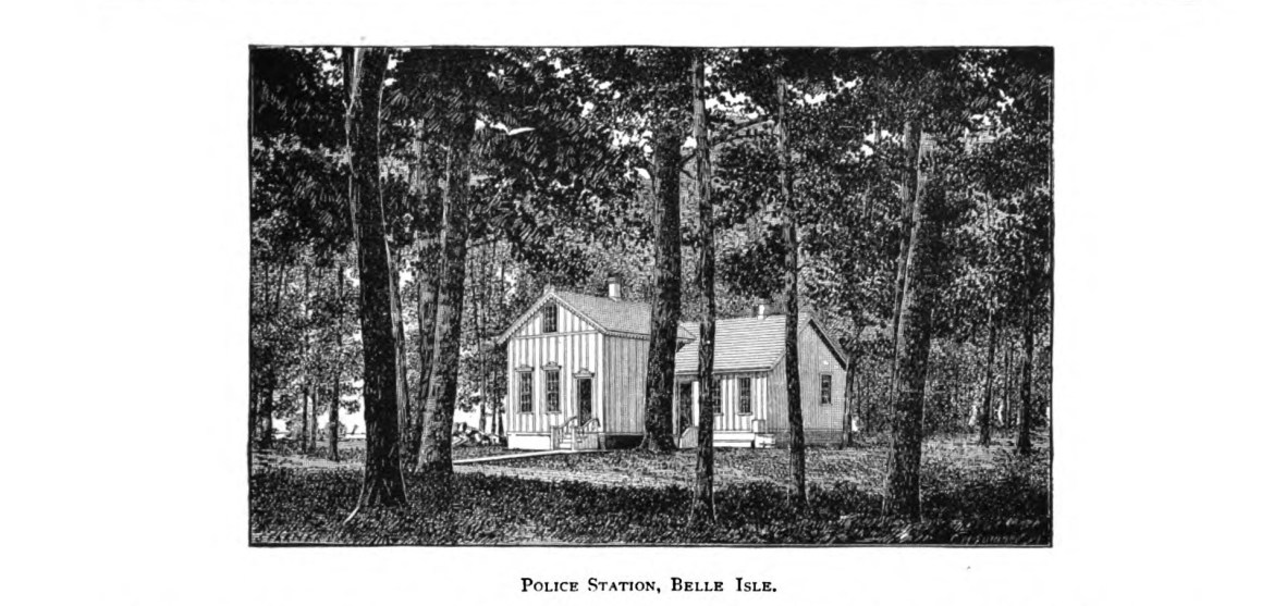 belle isle police station in black and white