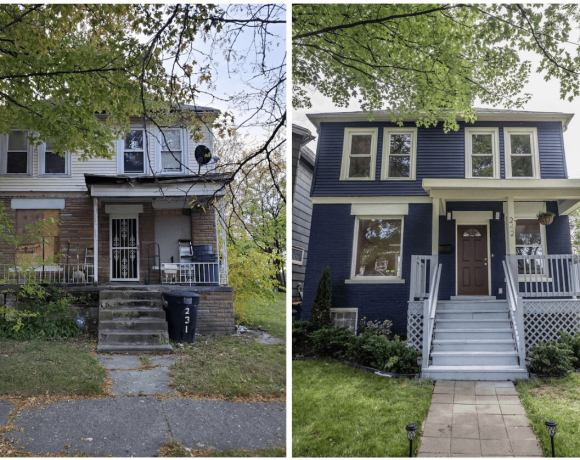 Before and after photos of home renovation project in the North End neighborhood of Detroit.