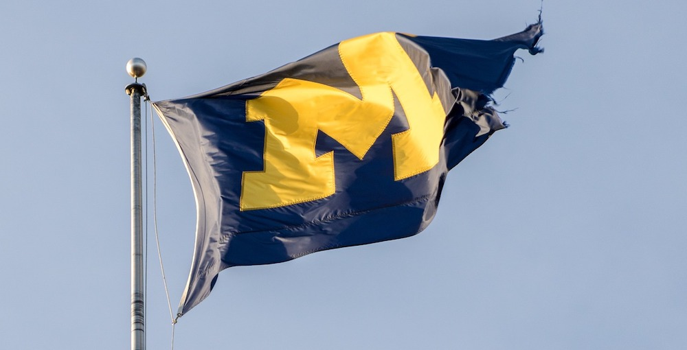 university of michigan flag. students were told to stay in place after covid-19 case surge
