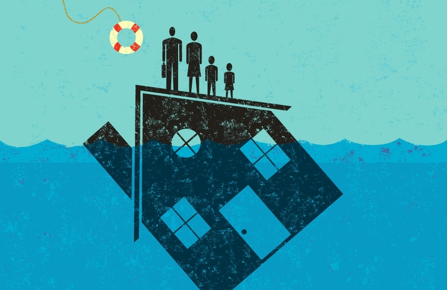 eviction crisis is coming for michigan. illustration shows family using sinking house as life raft
