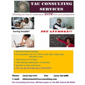 Tau Consulting Services, flier that has different tutoring and consulting services offered