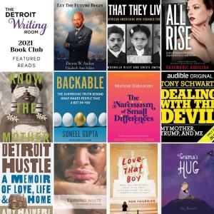 The Detroit Writing Room, grid of a variety of book covers that are going to be apart of their 2021 book club