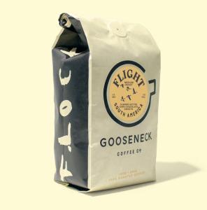 Goosneck Coffee Co./image features a bag of Gooseneck Coffee Co. medium roast coffee