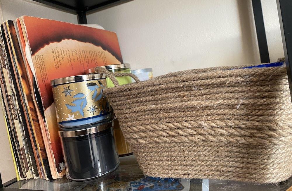 rope basket dollar store craft