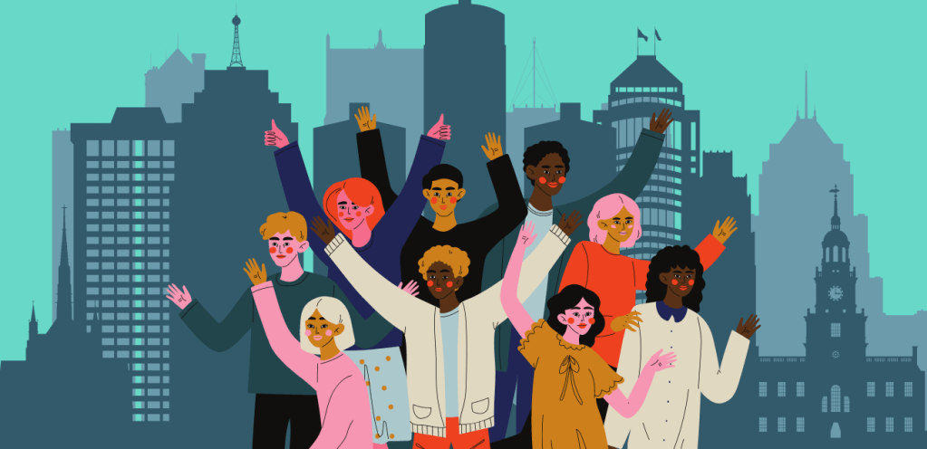 illustration of people with city of detroit skyline