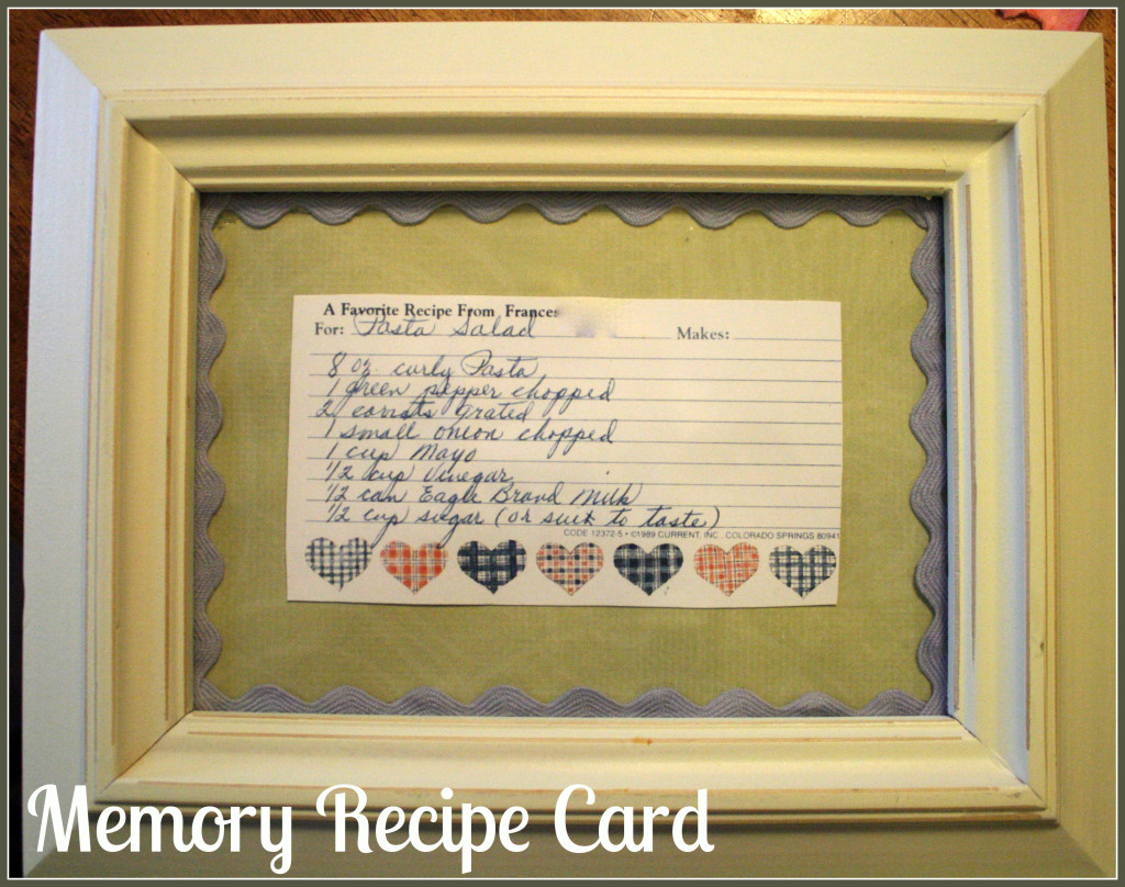 Memory Recipe Card - Detours in Life